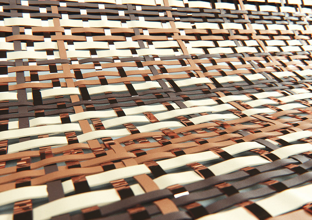 Close up of Woven Leather and Copper Tapis Carpet