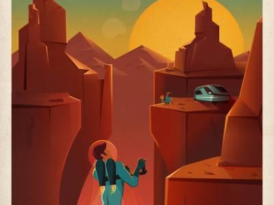 Ретро-постеры SpaceX, прославляющие туризм на Марс