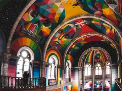 Скейт-парк в заброшенной церкви от художника Okuda San Miguel
