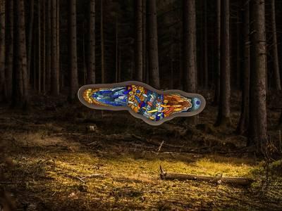"""""""Amoeba"""" - скульптура посреди леса"""