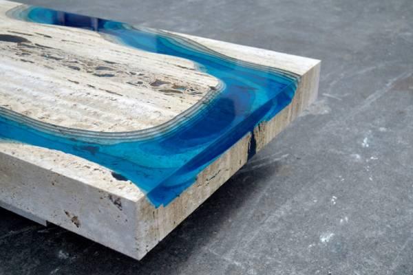 """Lagoon"" Table: стол из смолы и известкового туфа от дизайнера Александра Шапелина (Alexandre Chapelin)"