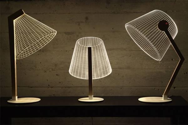 Плоские настольные лампы с эффектом 2D/3D от студии Cheho