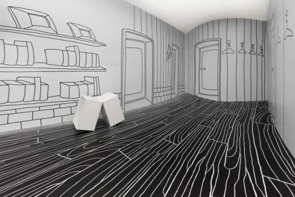 Черно-белый интерьер выставочного зала от дизайн-студии Nendo