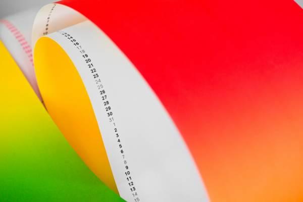 Техника радужной печати на календарях от Grammlich