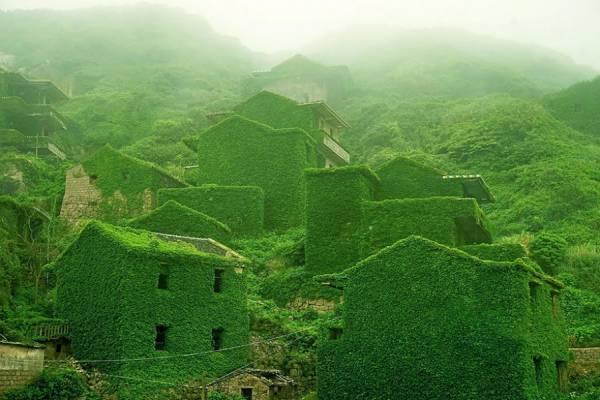 Природа поглотила заброшенный рыбацкий поселок на китайском острове