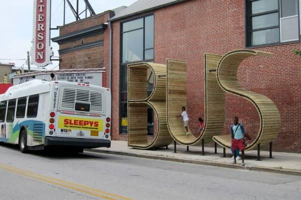 BUS - необычная автобусная остановка в Балтиморе, США